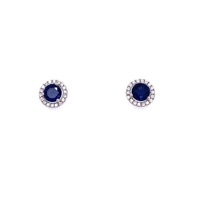 Sapphire and diamond halo stud earrings