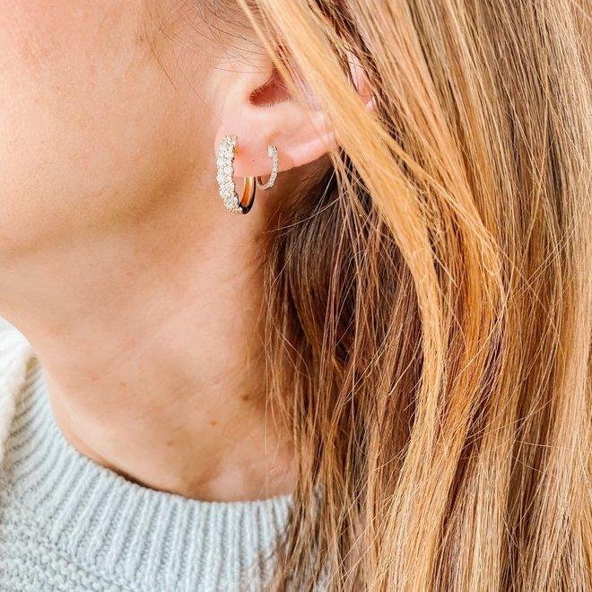 Round Diamond Cluster Style Hoop Earrings