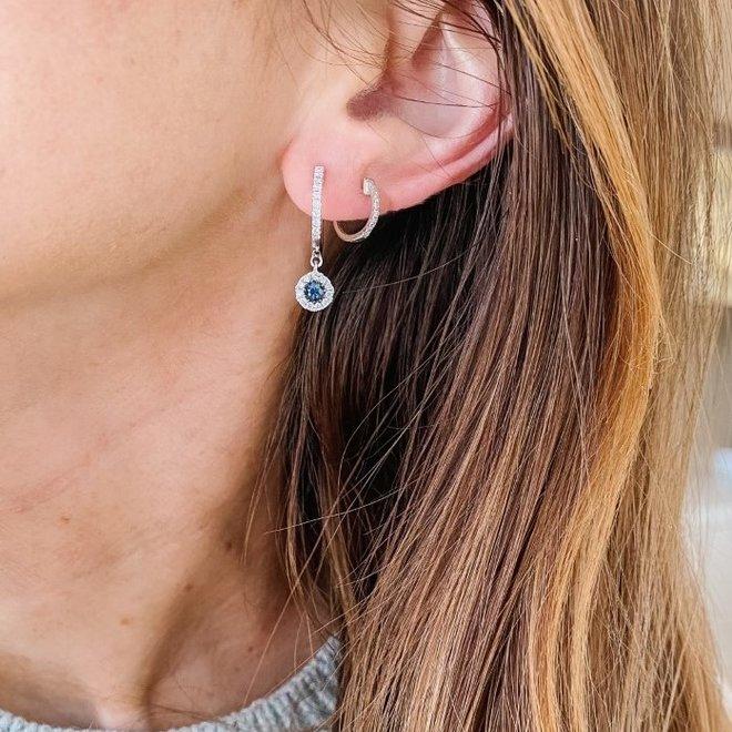 Sapphire and Diamond Halo Drop Earrings