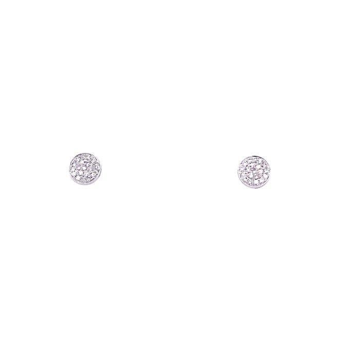 White Gold Disc Earrings-Medium