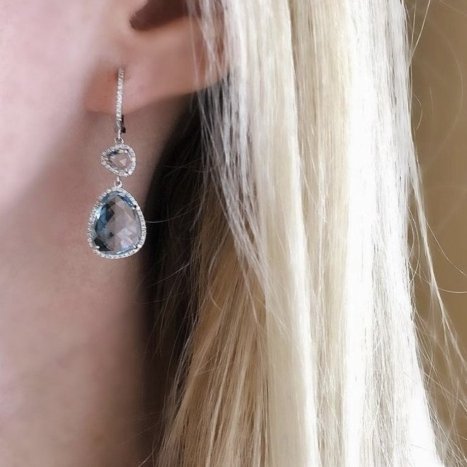 White gold blue topaz and diamond drop earrings