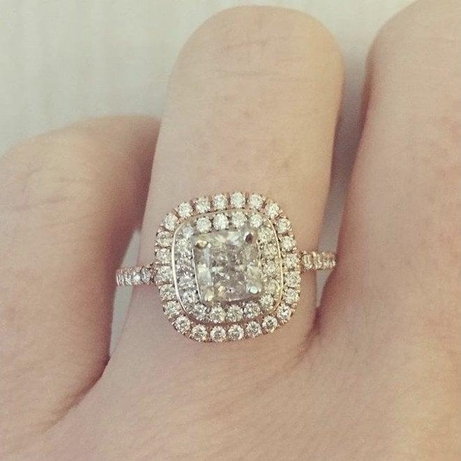 Double Halo Cushion Cut Engagement Ring