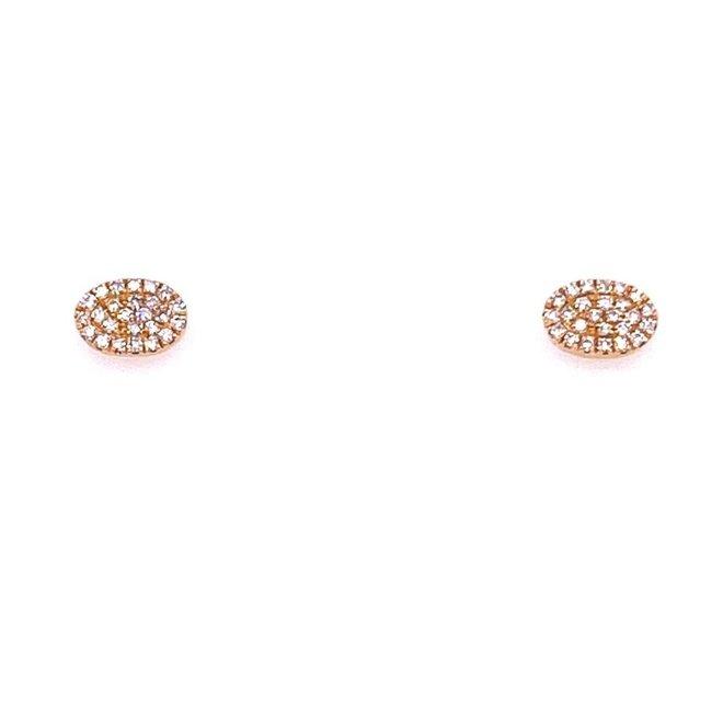Diamond Oval Stud Earrings