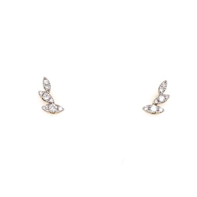 Diamond Leaf Earrings-Yellow Gold