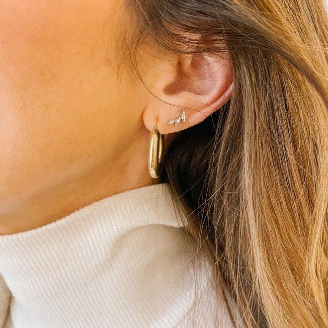 Diamond Leaf Earrings-White Gold