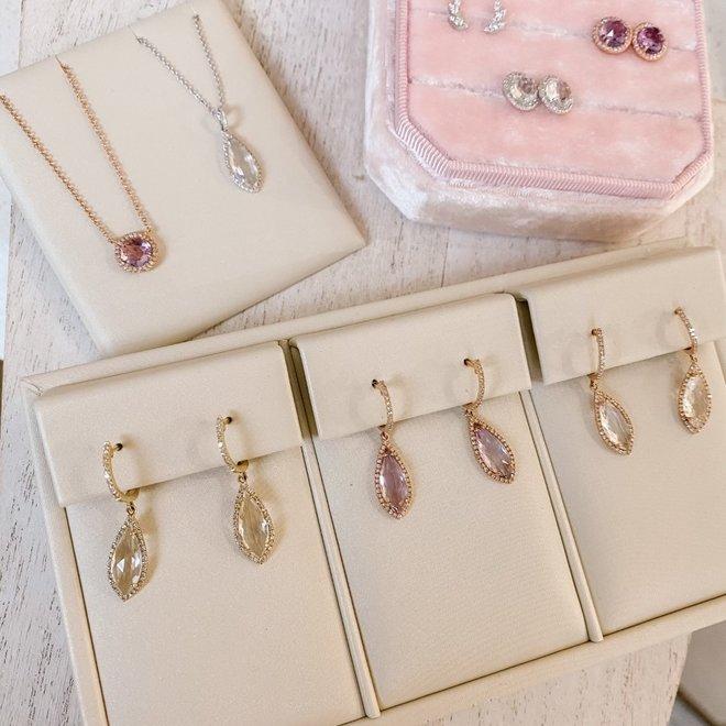 White topaz and diamond drop pendant