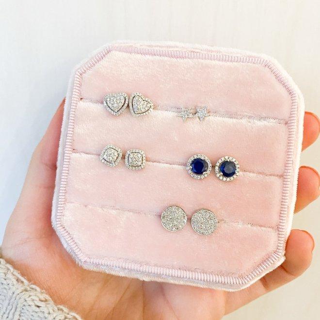 Heart Shaped Cluster Stud Earrings
