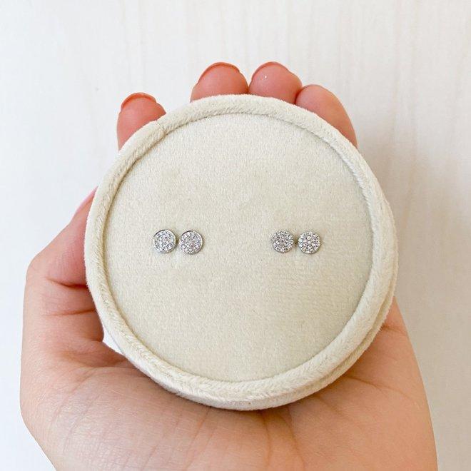 White Gold Disc Earrings-Petite