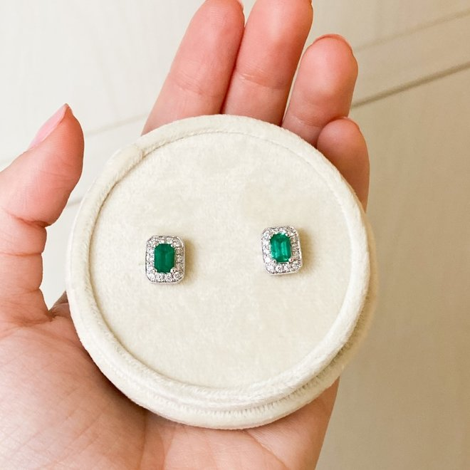 Emerald and diamond halo stud earrings