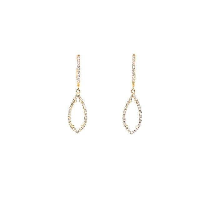 White topaz and diamond drop earrings-yellow gold