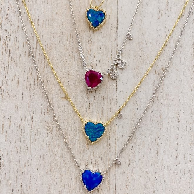 Diamond and lapis heart pendant