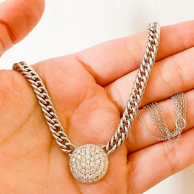 Curb link diamond disc necklace-white