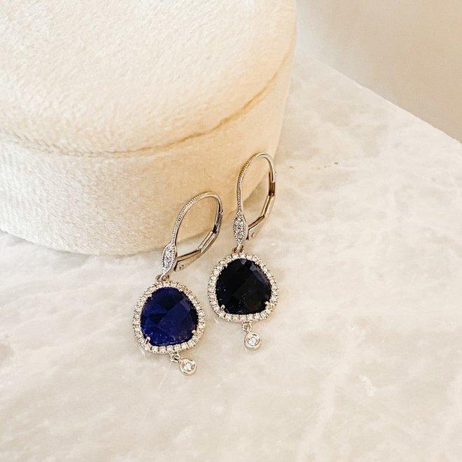 Rose cut blue sapphire and diamond earrings