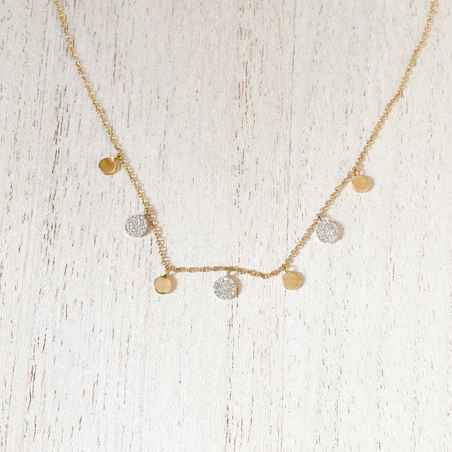 Diamond disc drop necklace