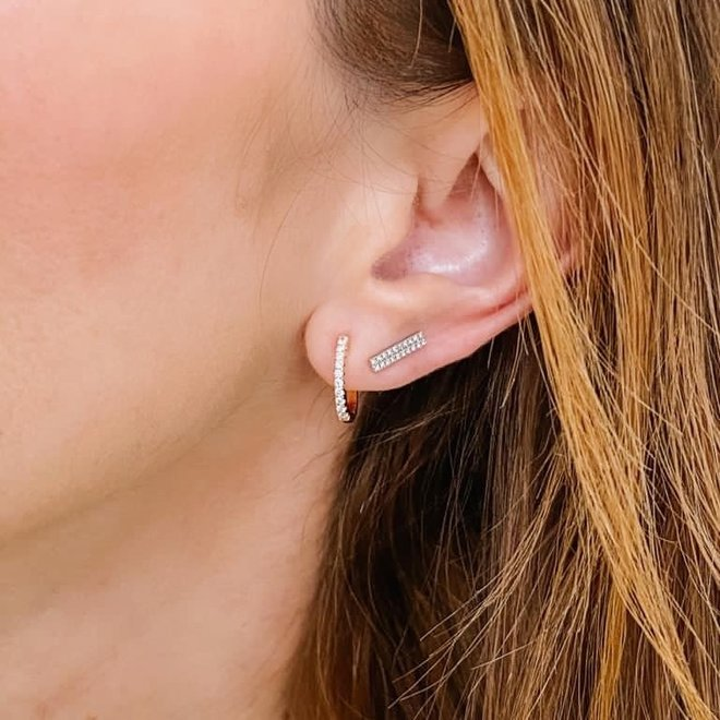 Diamond pave huggie earrings - yellow gold