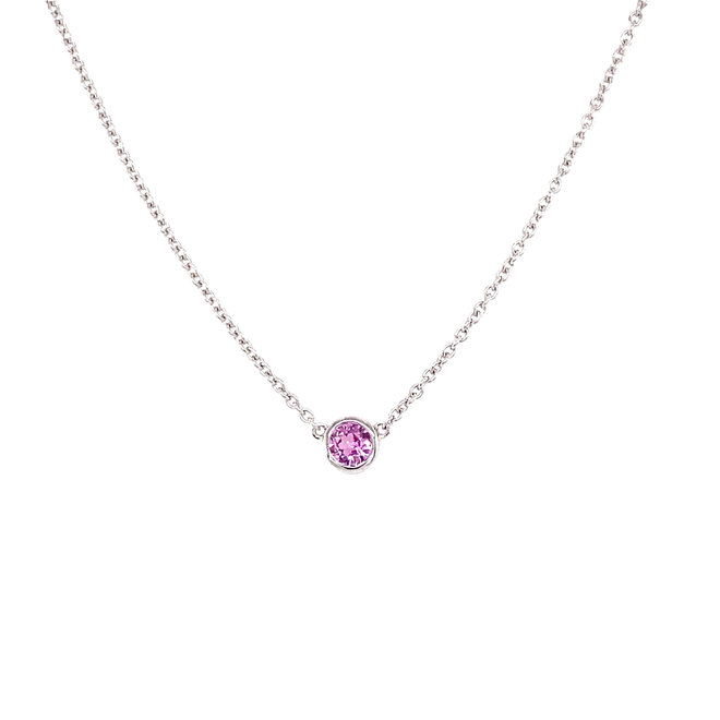 Bezel set birthstone necklace - pink sapphire