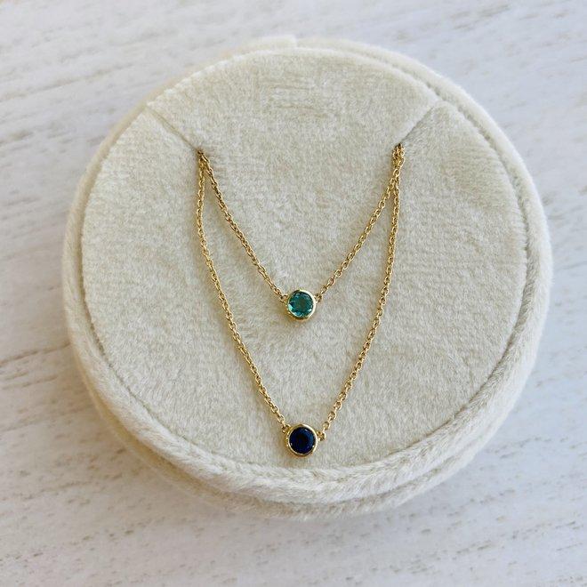 Bezel set birthstone necklace - emerald
