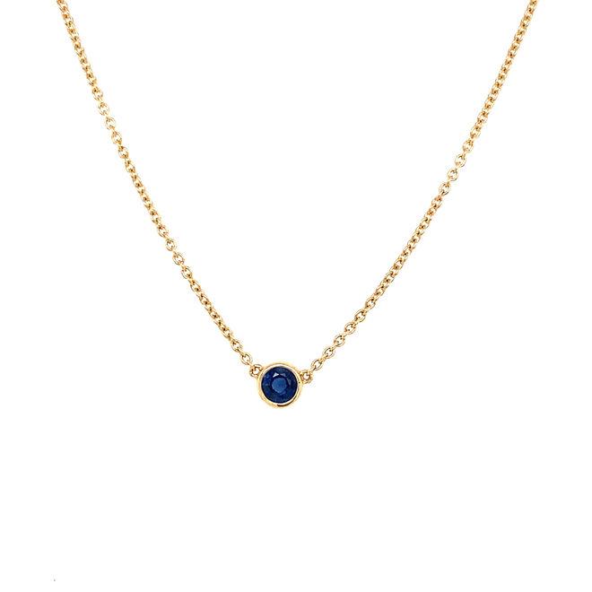 Bezel set birthstone necklace - blue sapphire