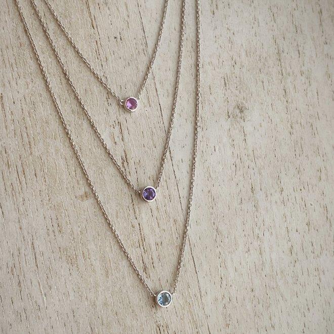 Bezel set birthstone necklace - amethyst
