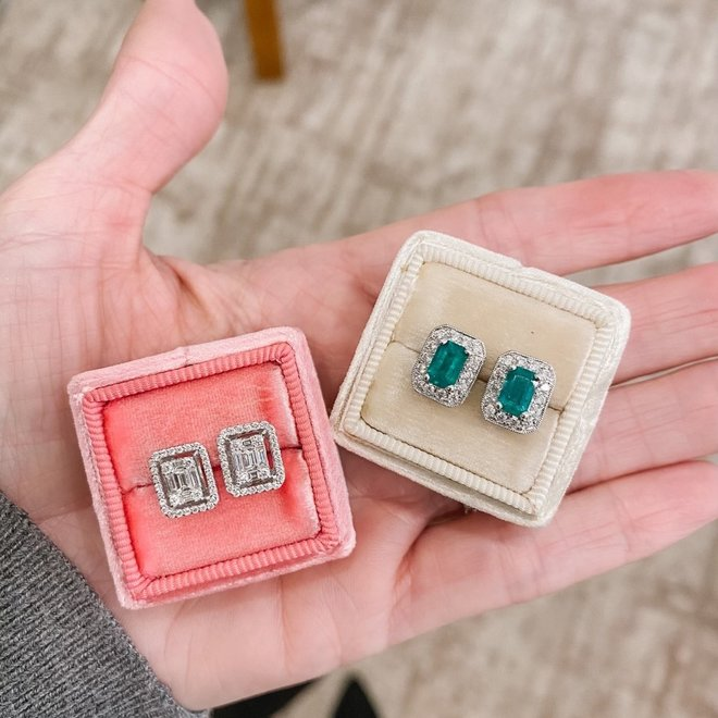 Emerald shape diamond cluster halo earrings