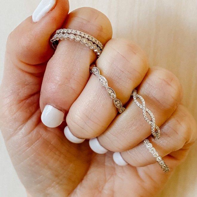 White gold bezel set diamond stackable band