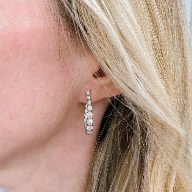 Graduated diamond hoop earrings
