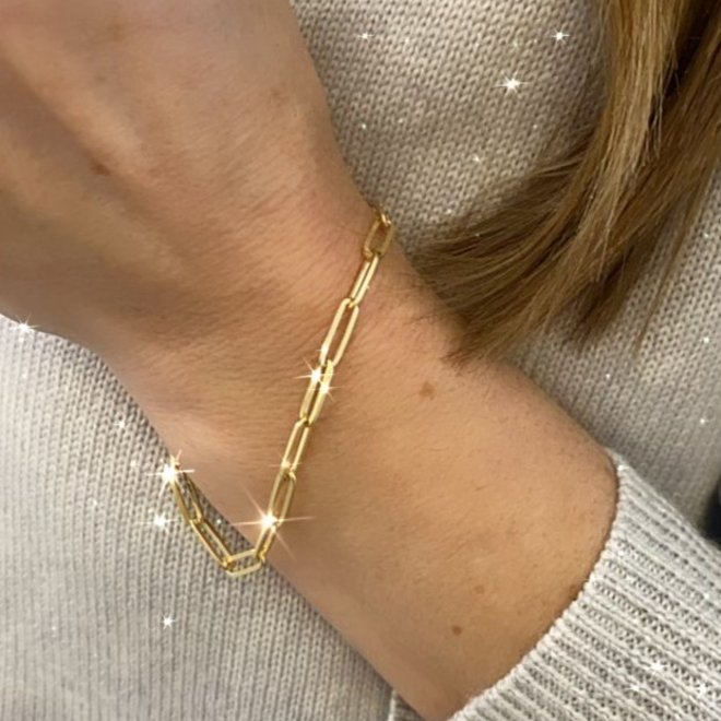 18k yellow  gold plated, sterling silver cable link bracelet
