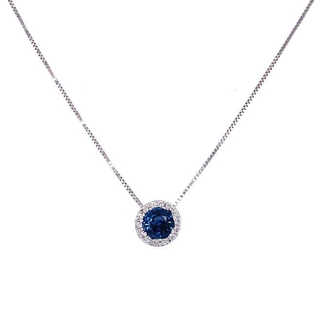 Sapphire and diamond halo pendant