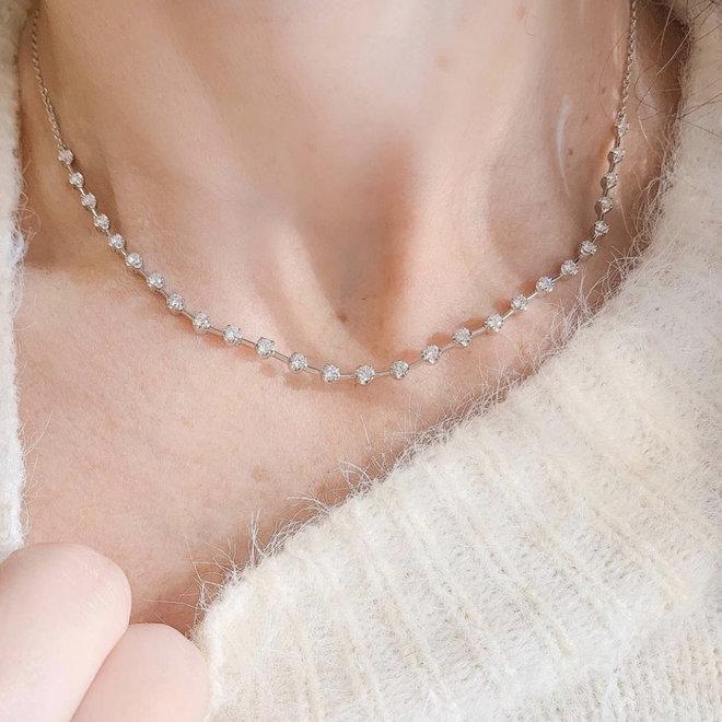 Diamond link collar necklace