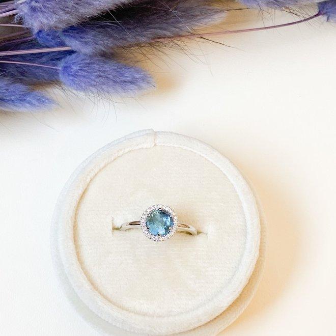 Blue Topaz Halo Ring