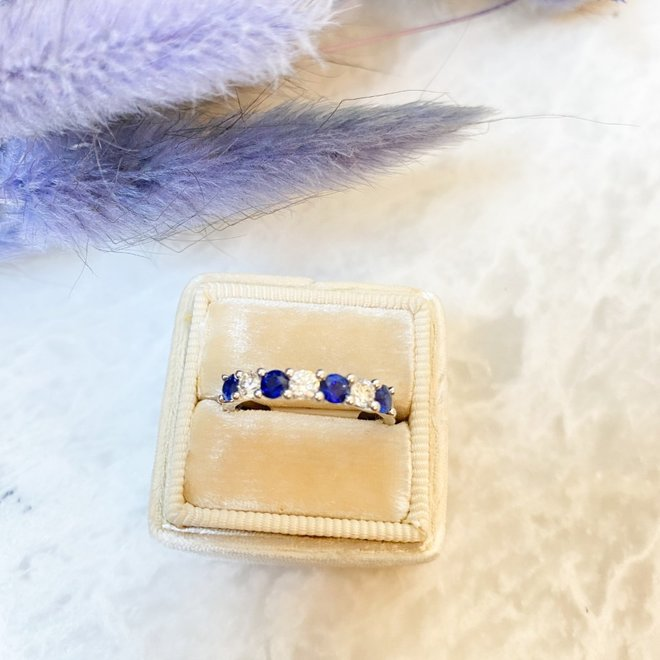 Diamond and sapphire anniversary band