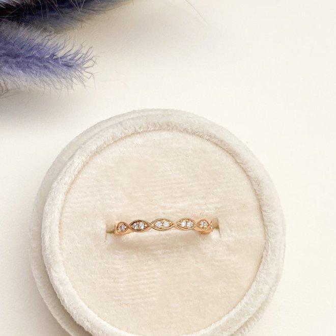 Rose gold pod diamond stackable