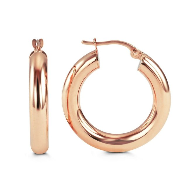 Wide gold hoop earrings - rose gold