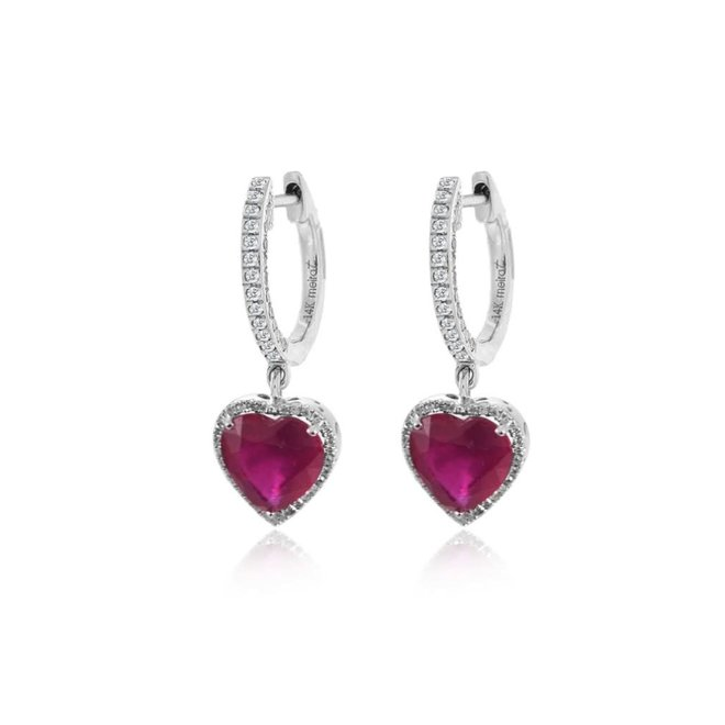Diamond and Ruby Drop Earrings