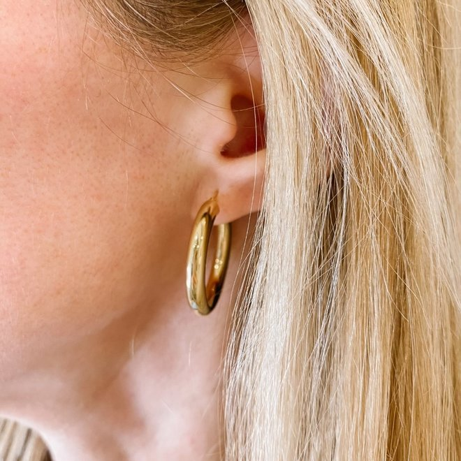 Large wide gold hoop earrings - yellow gold