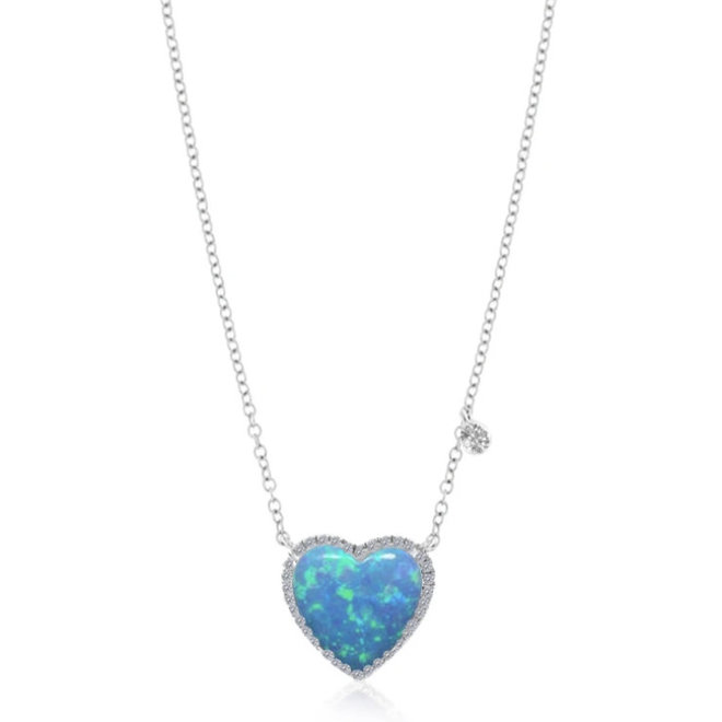 Opal and diamond heart pendant - white gold
