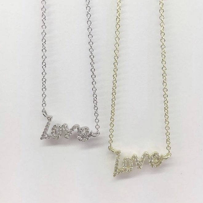 Diamond LOVE pendant-white gold