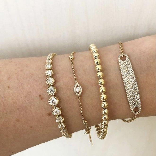 Sterling silver beaded bracelet - yellow