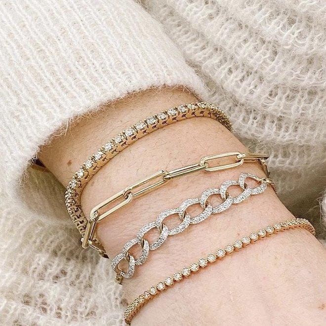 Bezel set diamond tennis bracelet-yellow