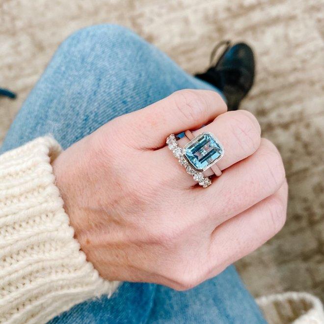 Aquamarine bezel set ring