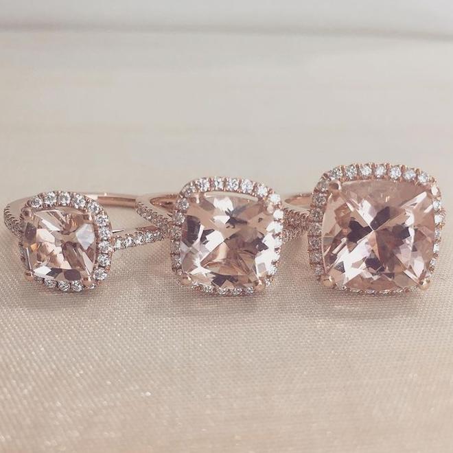 Morganite and diamond ring - large