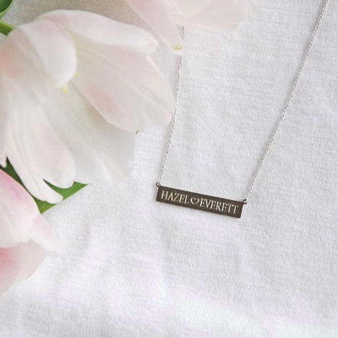 White gold engrave-able bar necklace