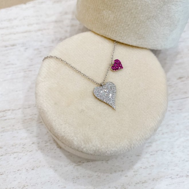 Diamond and ruby double heart pendant