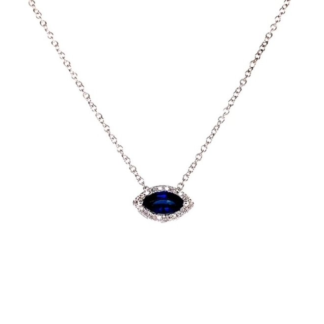 Blue sapphire and diamond halo pendant