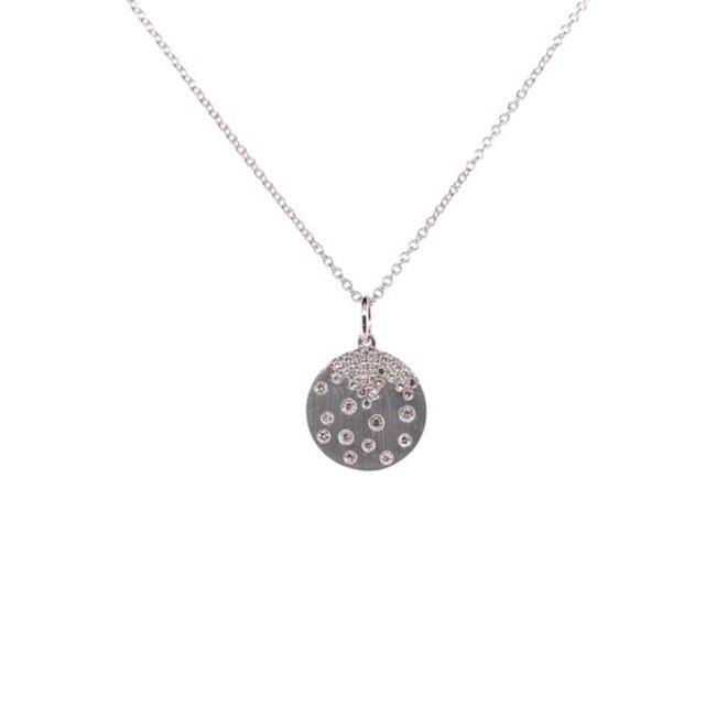 Gold brushed diamond pendant