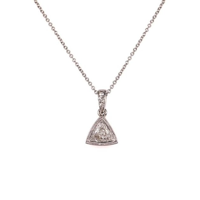 Bezel set trillion diamond pendant