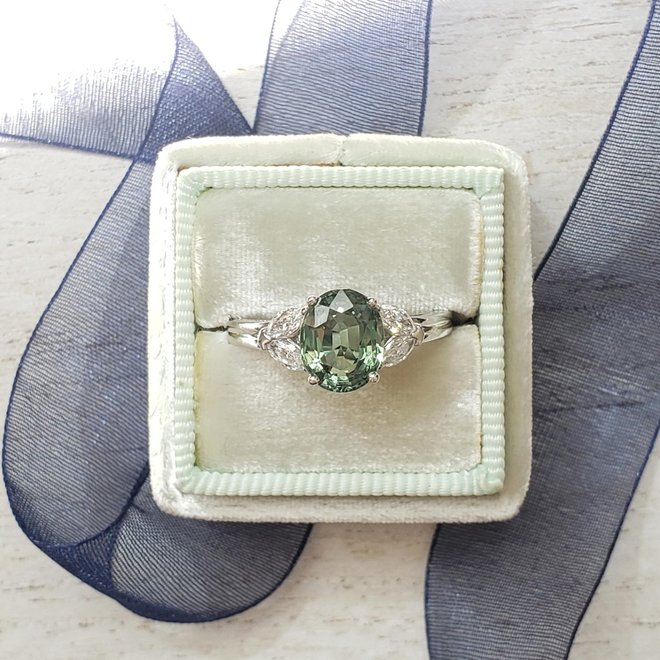 Green sapphire and diamond ring