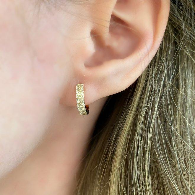 Triple row diamond huggie earrings