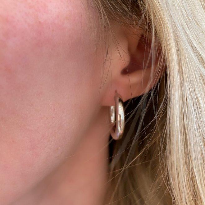 Wide Gold Hoop Earrings-White Gold