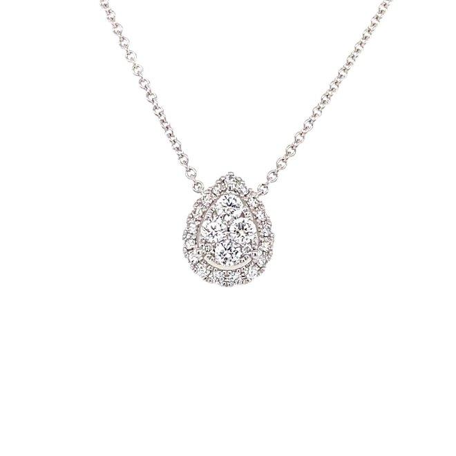 Pear shape diamond cluster pendant